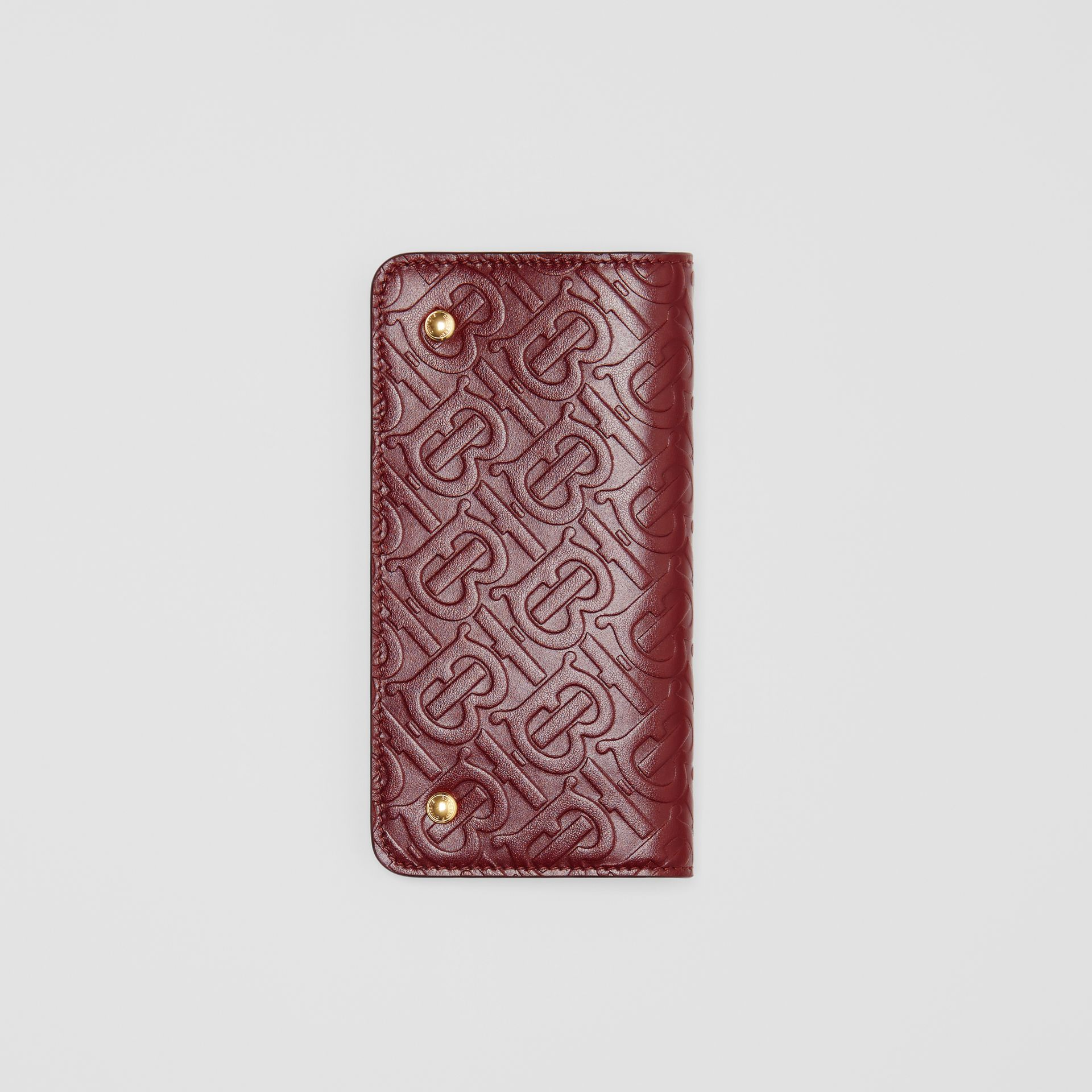 Monogram Leather Phone Wallet in Oxblood | Burberry - gallery image 3