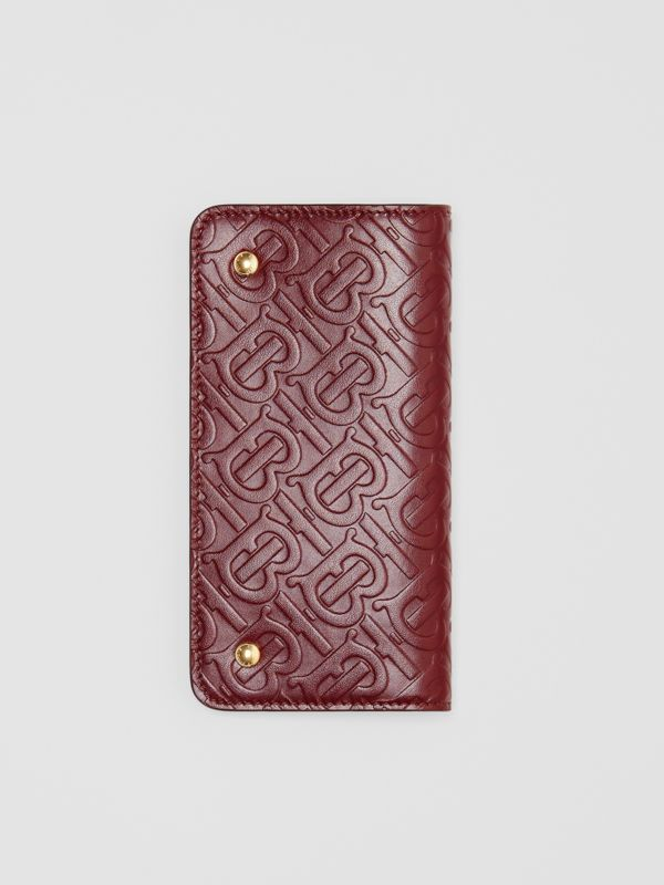 Monogram Leather Phone Wallet in Oxblood - Women | Burberry - cell image 3