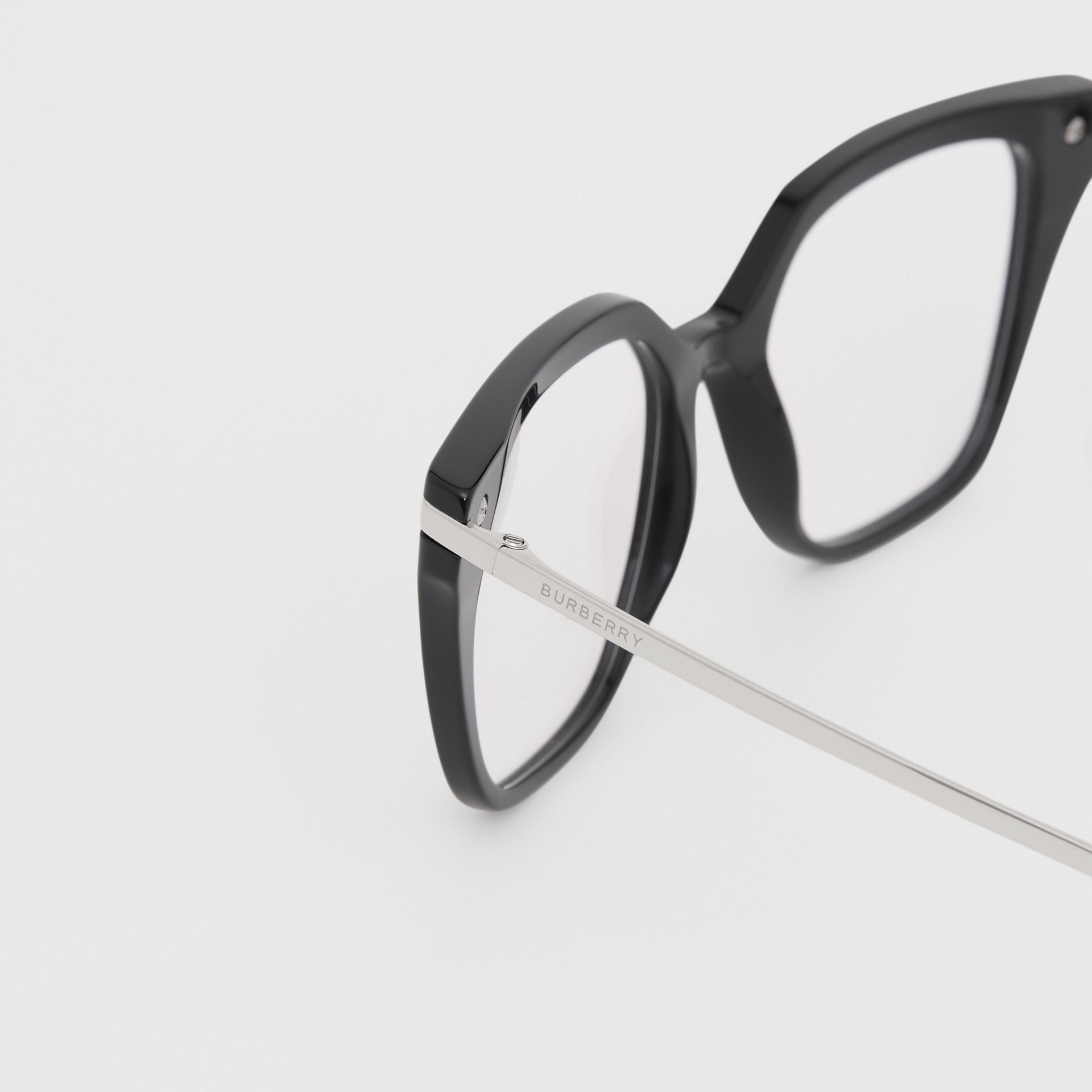 Monogram Motif Square Optical Frames in Black - Women | Burberry Canada - gallery image 1