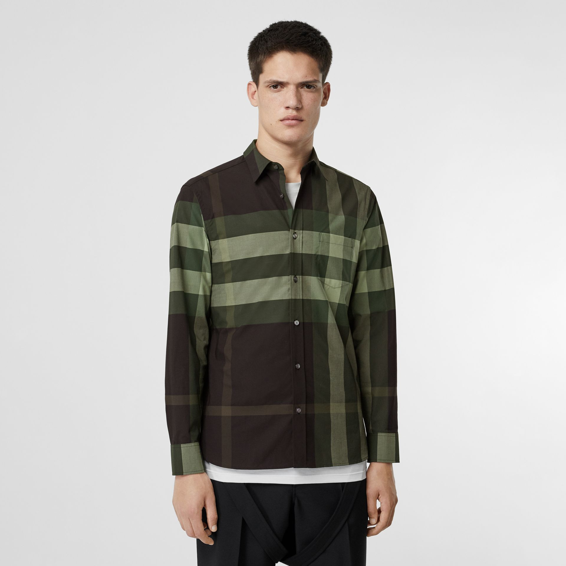 Check Stretch Cotton Shirt in Dark Forest Green - Men | Burberry - gallery image 0