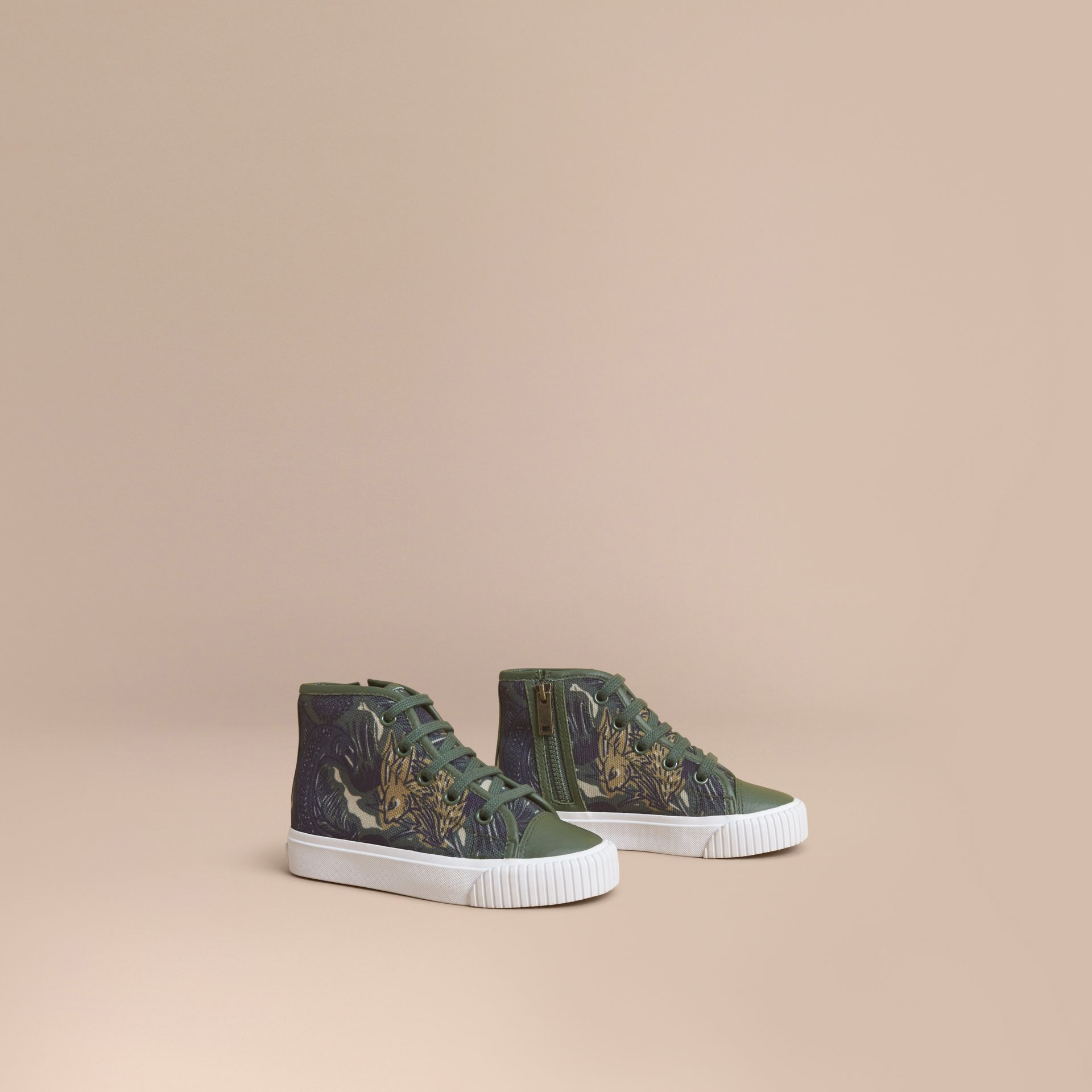 Beasts Print Cotton and Leather High-top Trainers in Clay Green | Burberry Singapore - gallery image 1