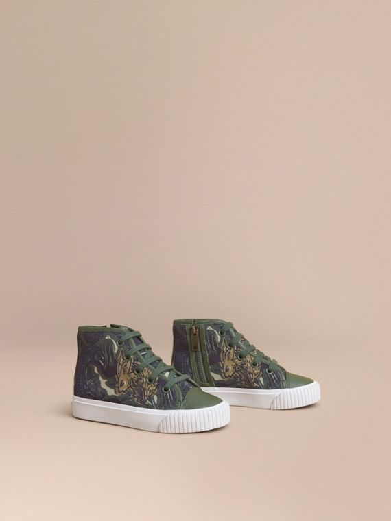Beasts Print Cotton and Leather High-top Trainers in Clay Green