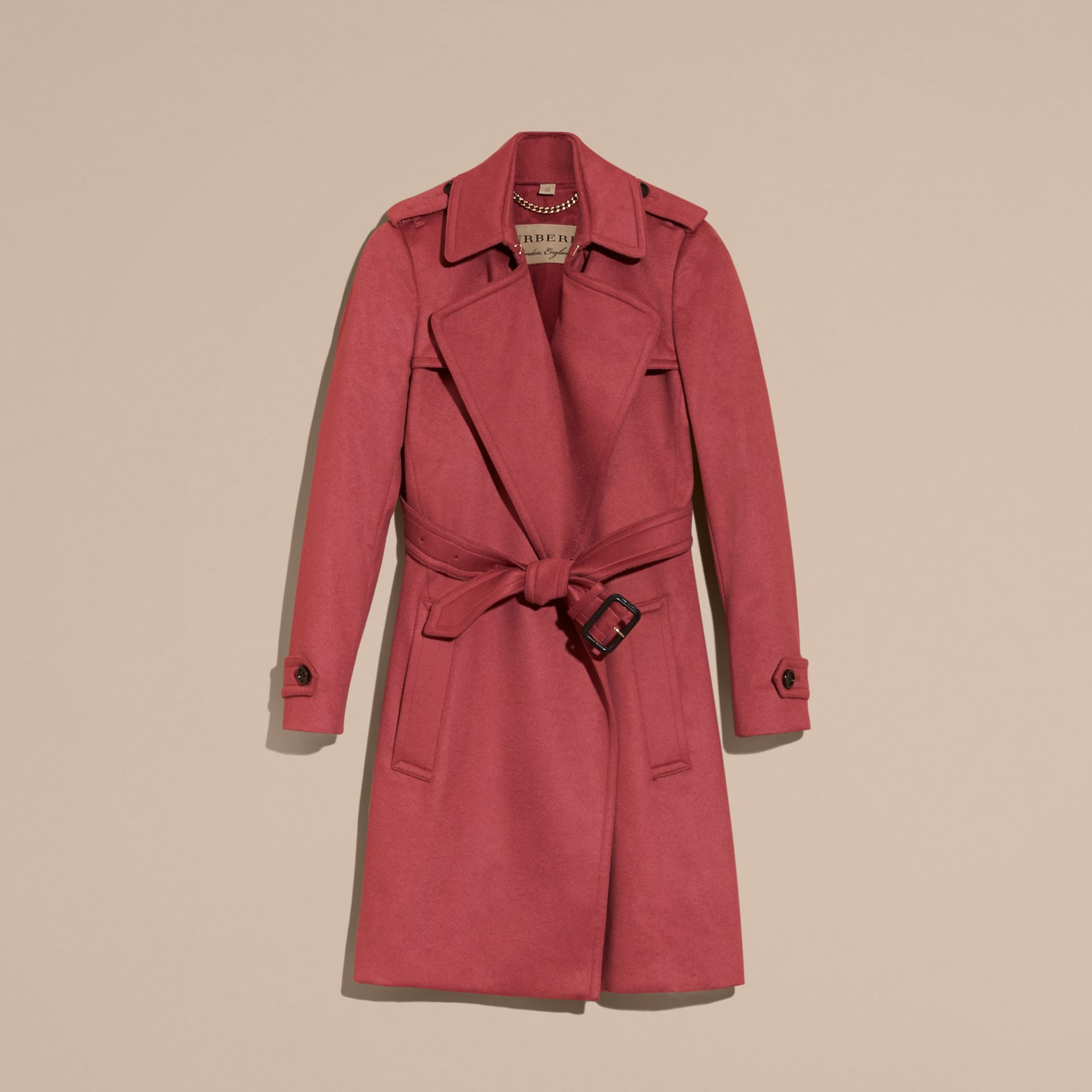 Dusty peony rose Cashmere Wrap Trench Coat Dusty Peony Rose - gallery image 4