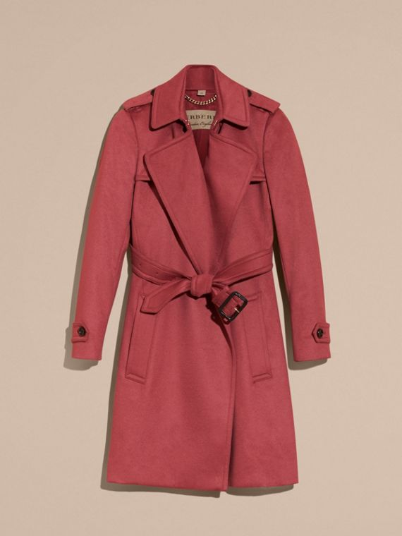 Rosa peonia polvere Trench coat a scialle in cashmere Rosa Peonia Polvere - cell image 3