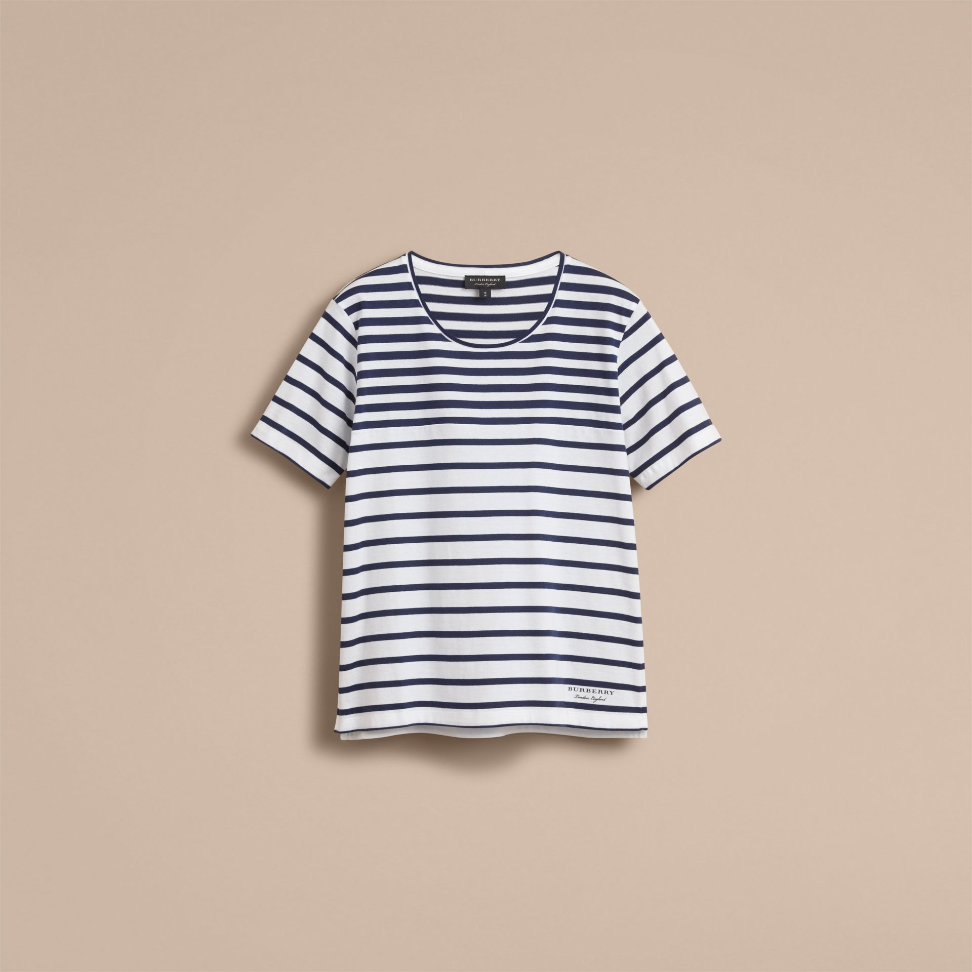 Breton Stripe Cotton T-shirt in Navy/white - Women | Burberry - gallery image 4