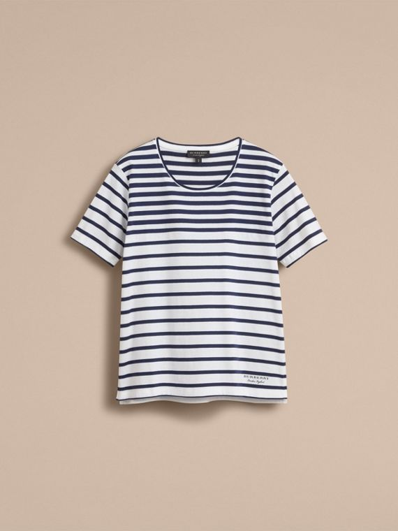 Breton Stripe Cotton T-shirt in Navy/white - Women | Burberry - cell image 3