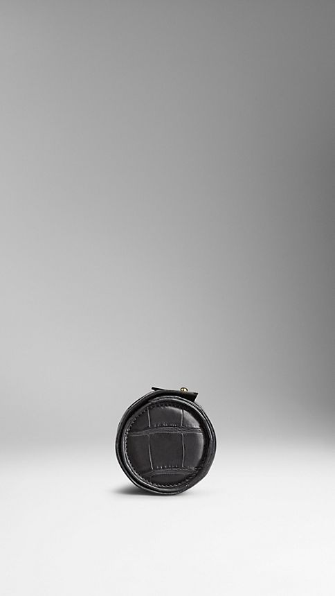 Black Alligator Leather Watch Travel Case - Image 3