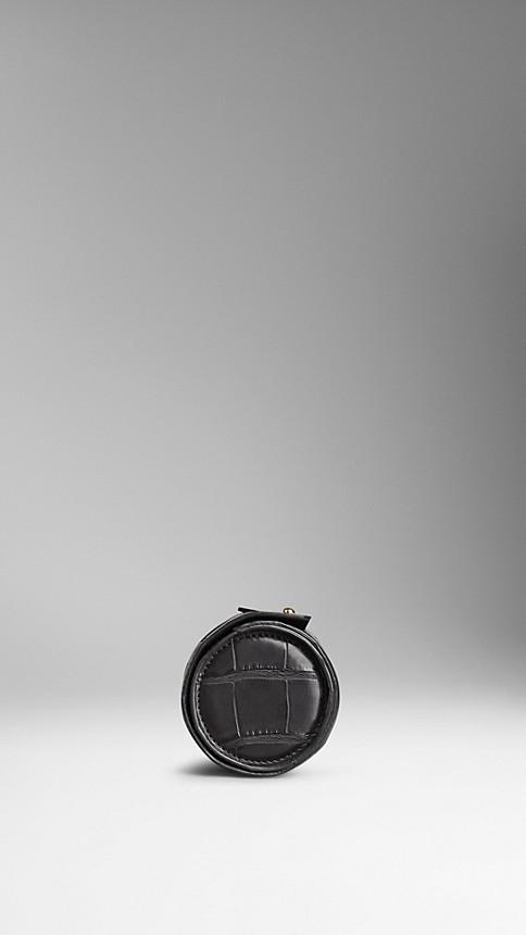 Black Alligator Leather Watch Travel Case - Image 3