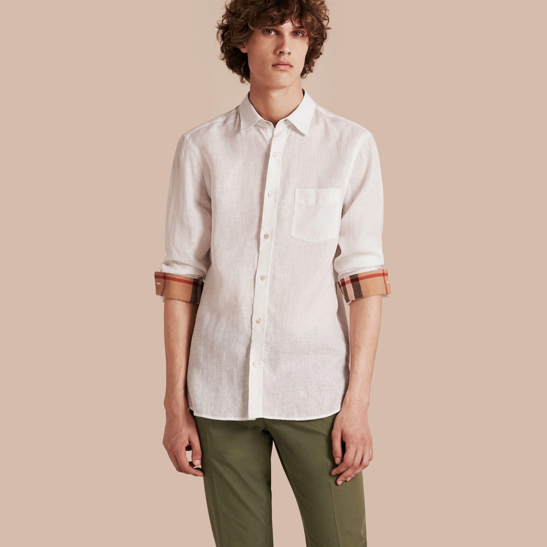 Check Detail Linen Shirt in White - Men | Burberry - gallery image 1