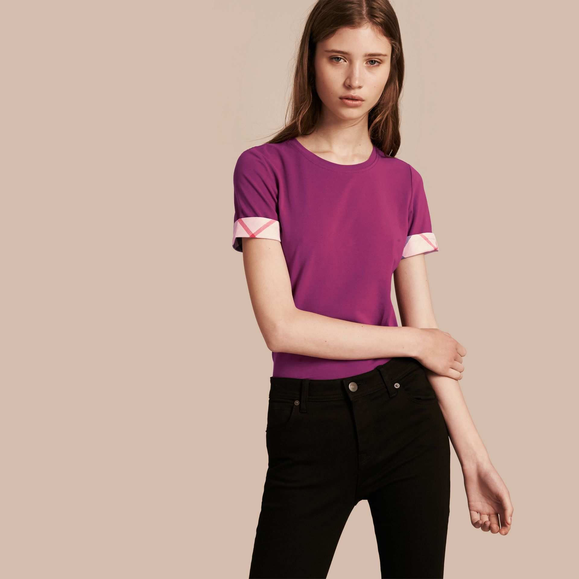Check Cuff Stretch Cotton T-Shirt in Magenta Pink - Women | Burberry - gallery image 1