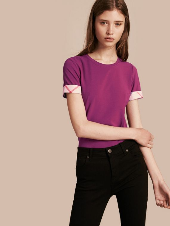 Check Cuff Stretch Cotton T-Shirt Magenta Pink
