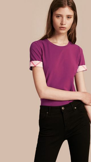 Check Cuff Stretch Cotton T-Shirt