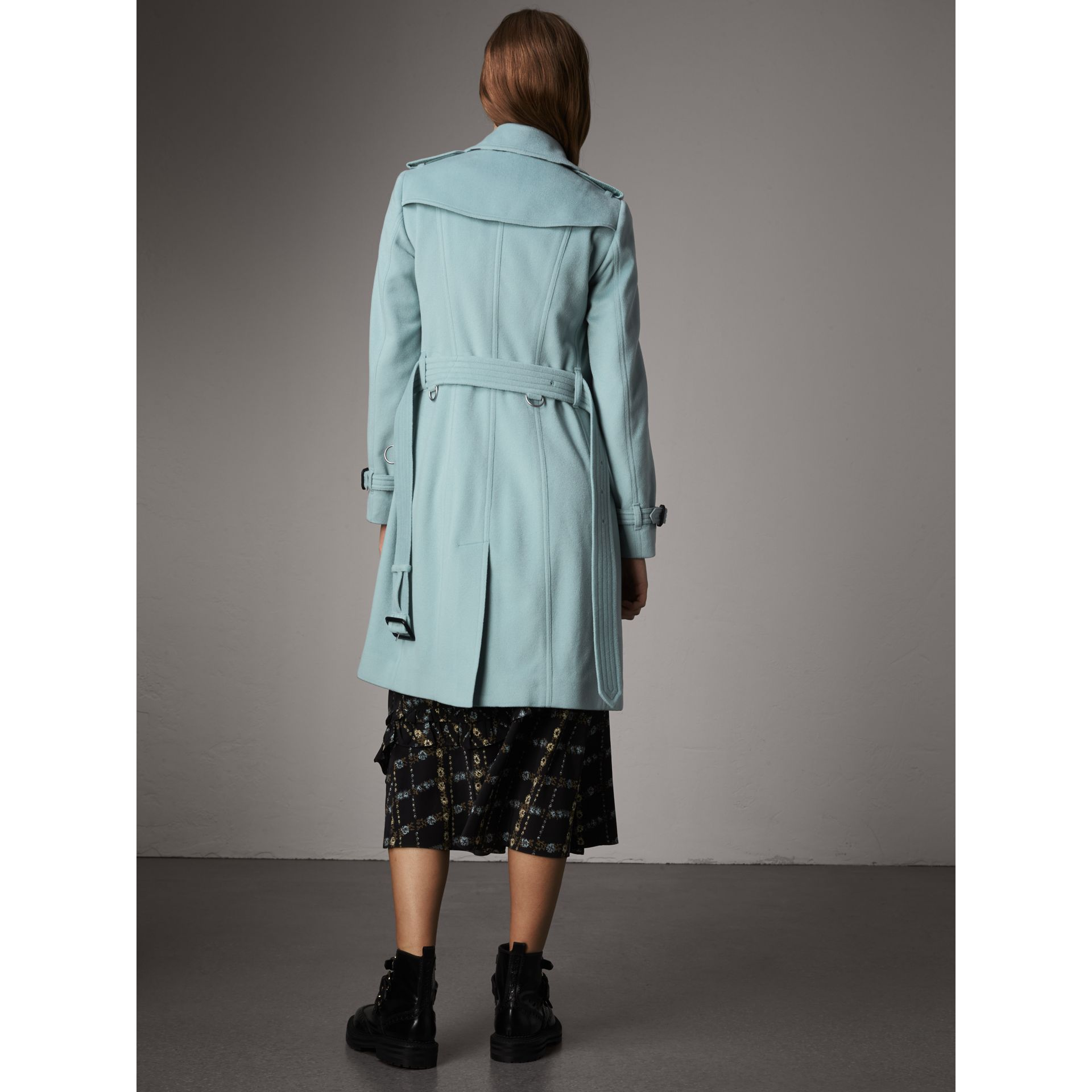 Sandringham Fit Cashmere Trench Coat in Pale Mineral Blue - Women | Burberry - gallery image 2
