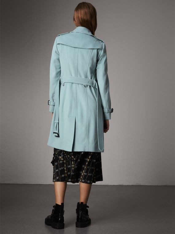 Sandringham Fit Cashmere Trench Coat in Pale Mineral Blue - Women | Burberry - cell image 2