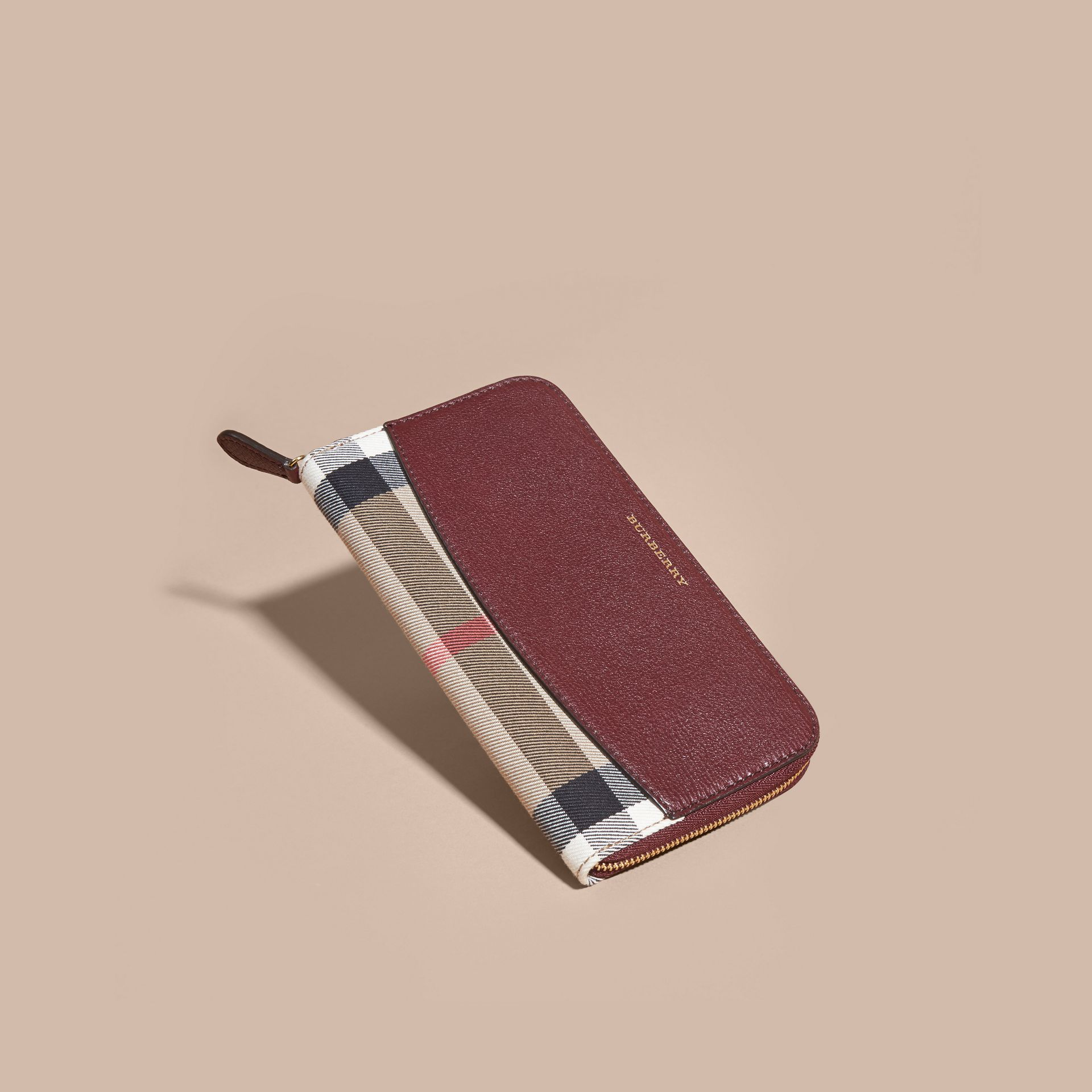 House Check and Leather Ziparound Wallet in Mahogany Red - gallery image 6