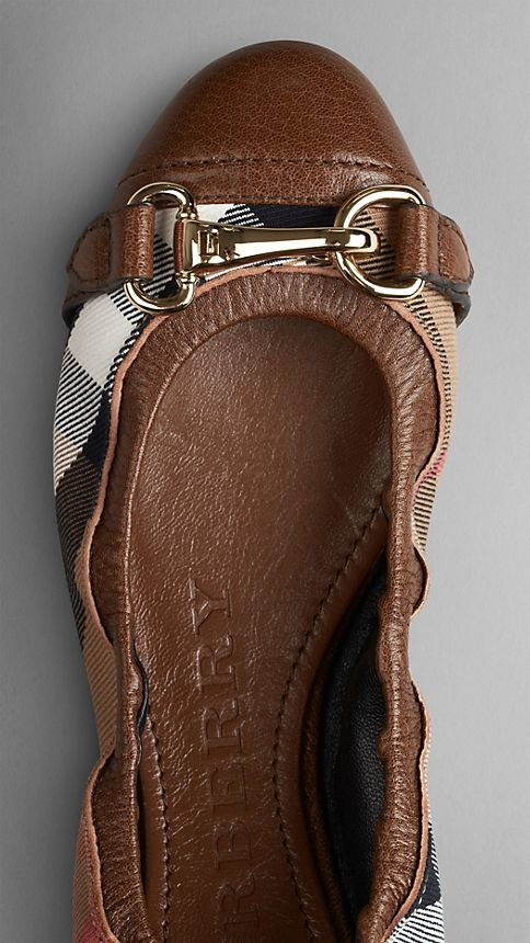 Dark tan Buckle Detail House Check Ballerinas Dark Tan - Image 4