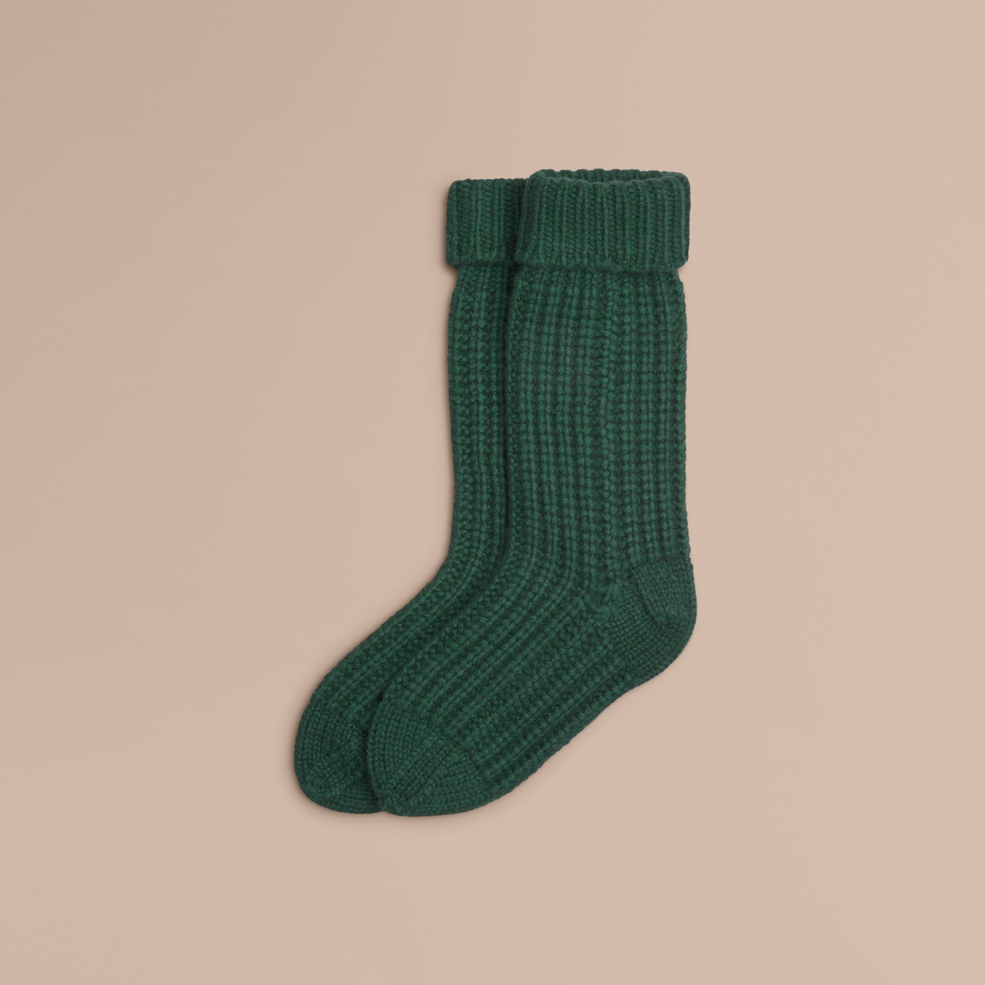 Forest green Knitted Cashmere Socks Forest Green - gallery image 1