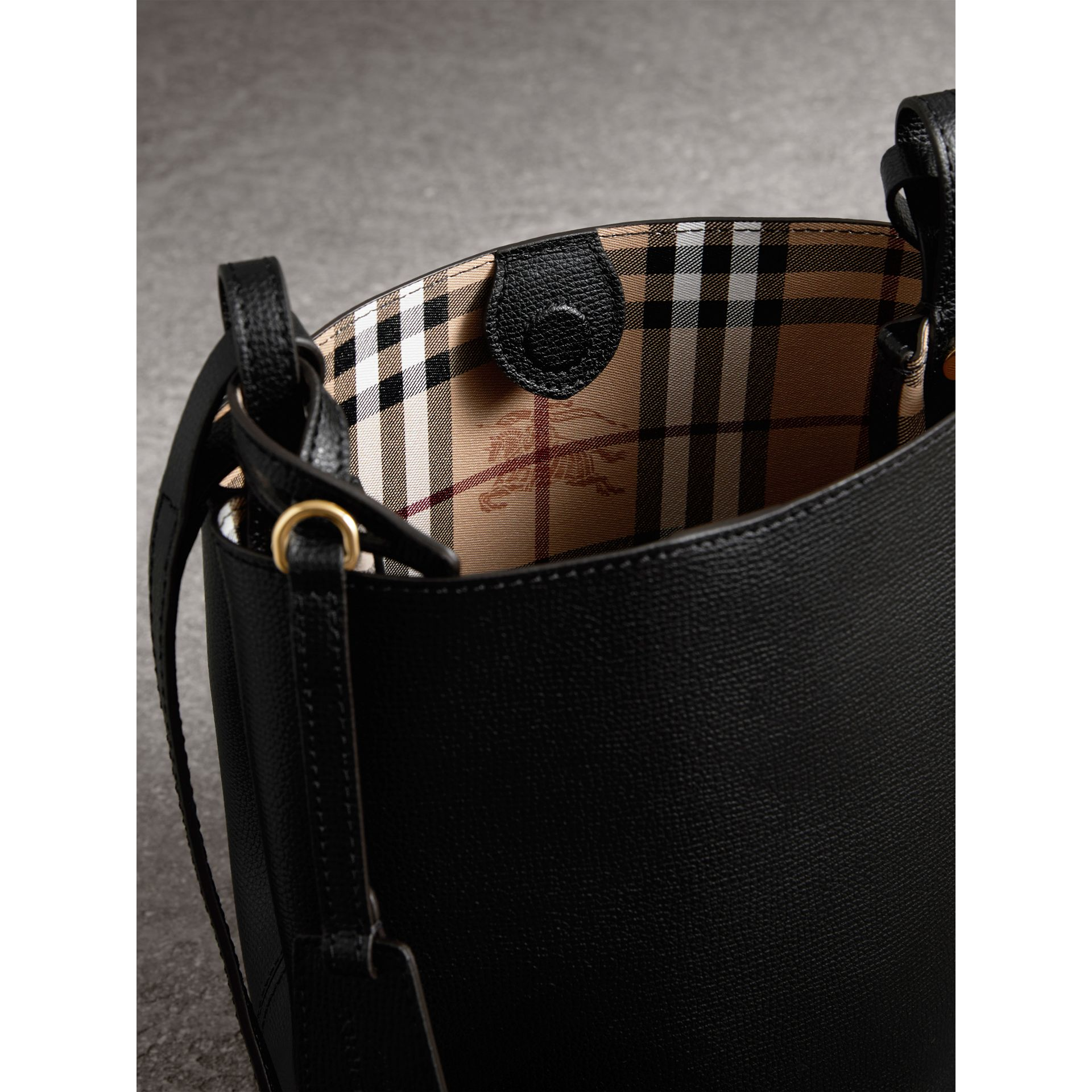 Leather and Haymarket Check Crossbody Bucket Bag in Black - Women | Burberry - gallery image 4