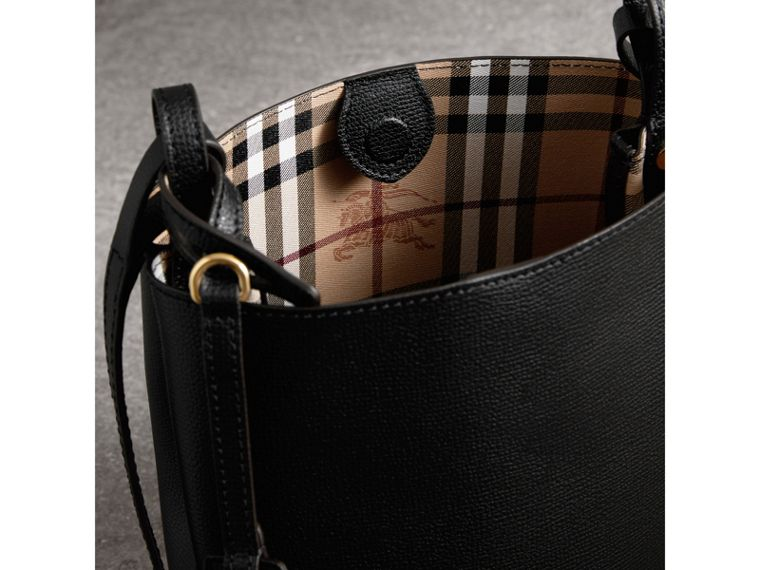 Leather and Haymarket Check Crossbody Bucket Bag in Black - Women | Burberry United Kingdom - cell image 4