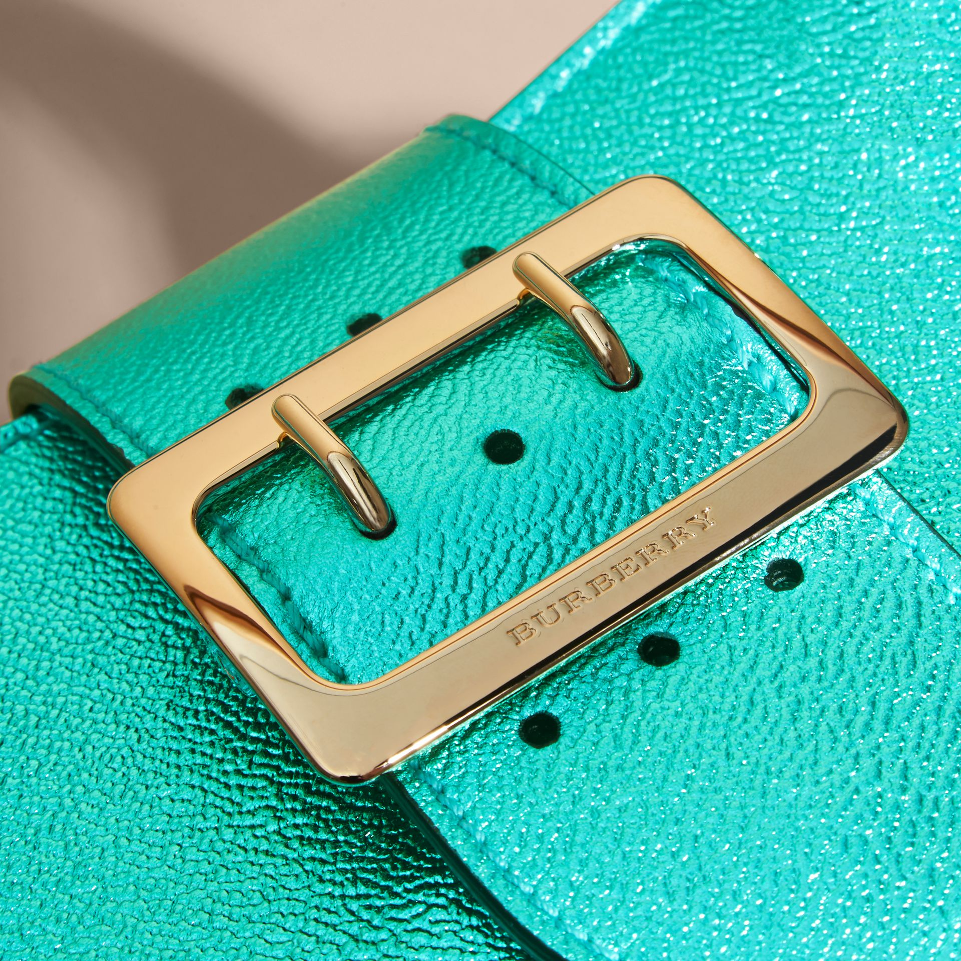 The Small Buckle Tote in Metallic Leather Emerald - gallery image 6