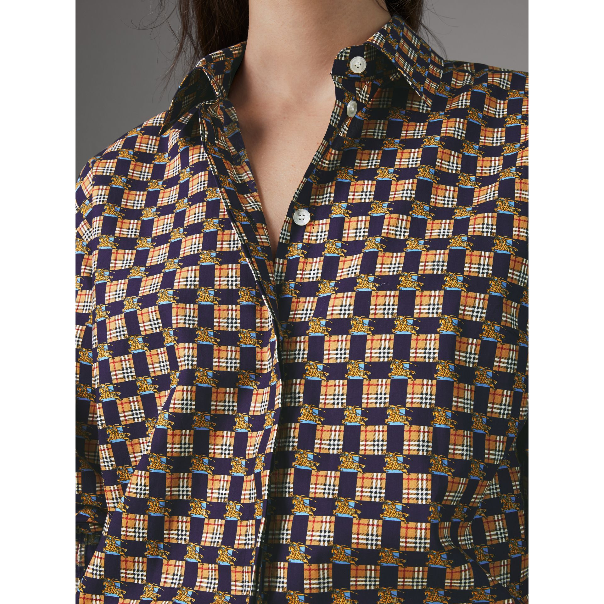 Tiled Archive Print Cotton Shirt in Navy - Women | Burberry United Kingdom - gallery image 1