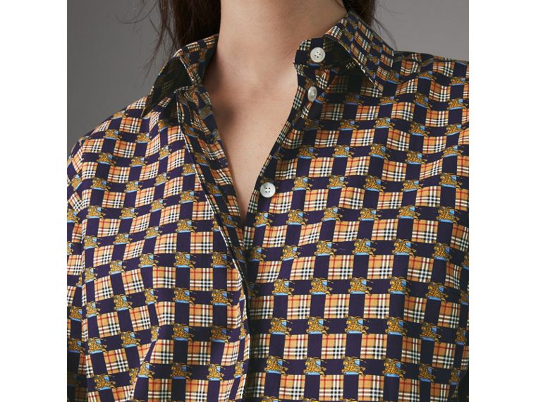 Tiled Archive Print Cotton Shirt in Navy - Women | Burberry - cell image 1