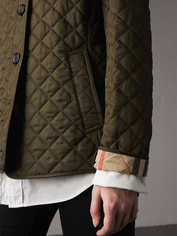 Diamond Quilted Jacket in Dark Olive - Women | Burberry United Kingdom - cell image 3
