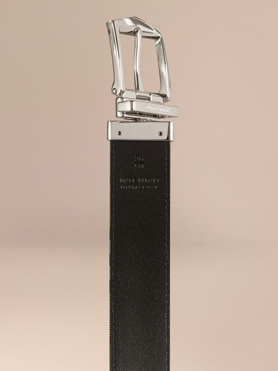 Black Reversible Horseferry Check and Leather Belt Black - cell image 3