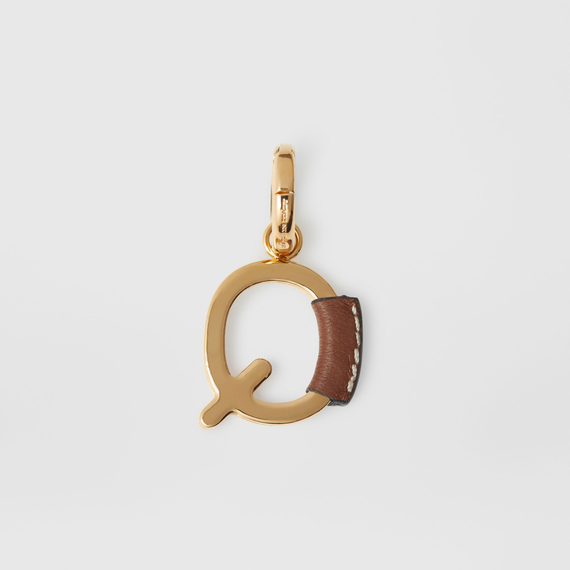 Leather-wrapped 'Q' Alphabet Charm in Light Gold/tan - Women | Burberry - gallery image 3