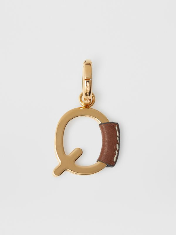 Leather-wrapped 'Q' Alphabet Charm in Light Gold/tan - Women | Burberry - cell image 3