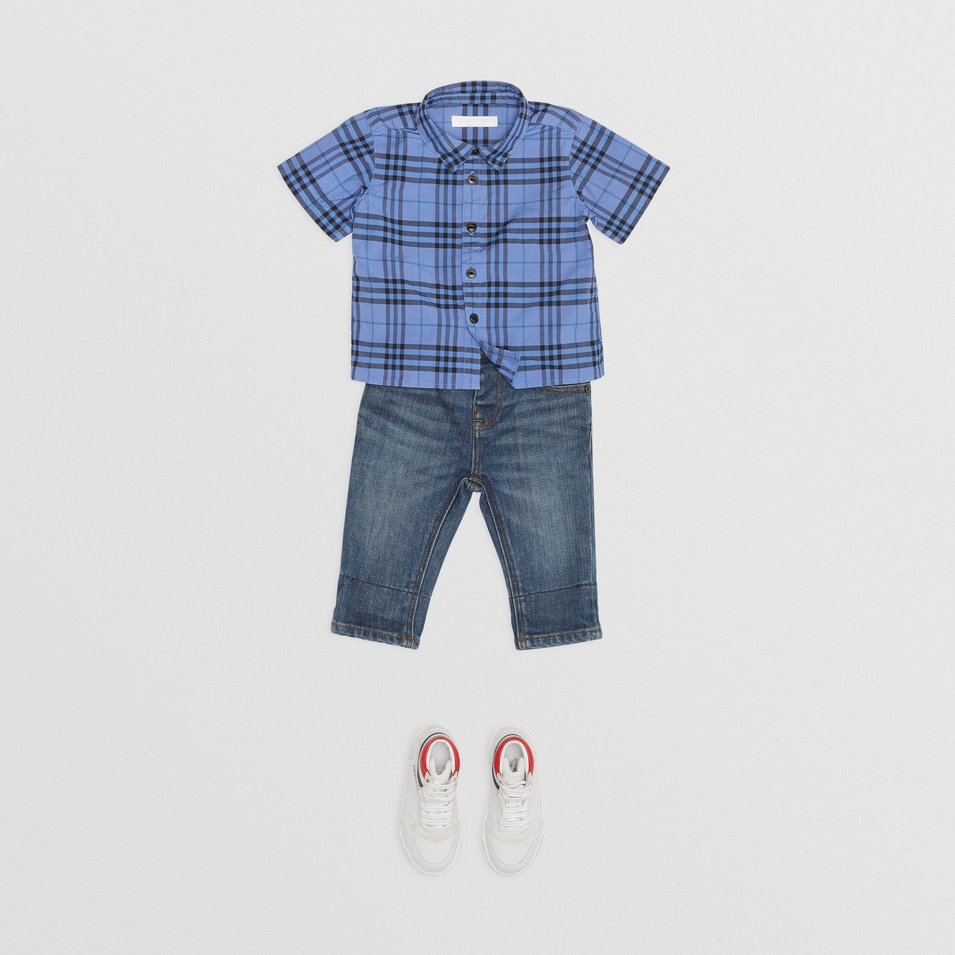 Short-sleeve Check Cotton Shirt in Dusty Blue - Children | Burberry - gallery image 2