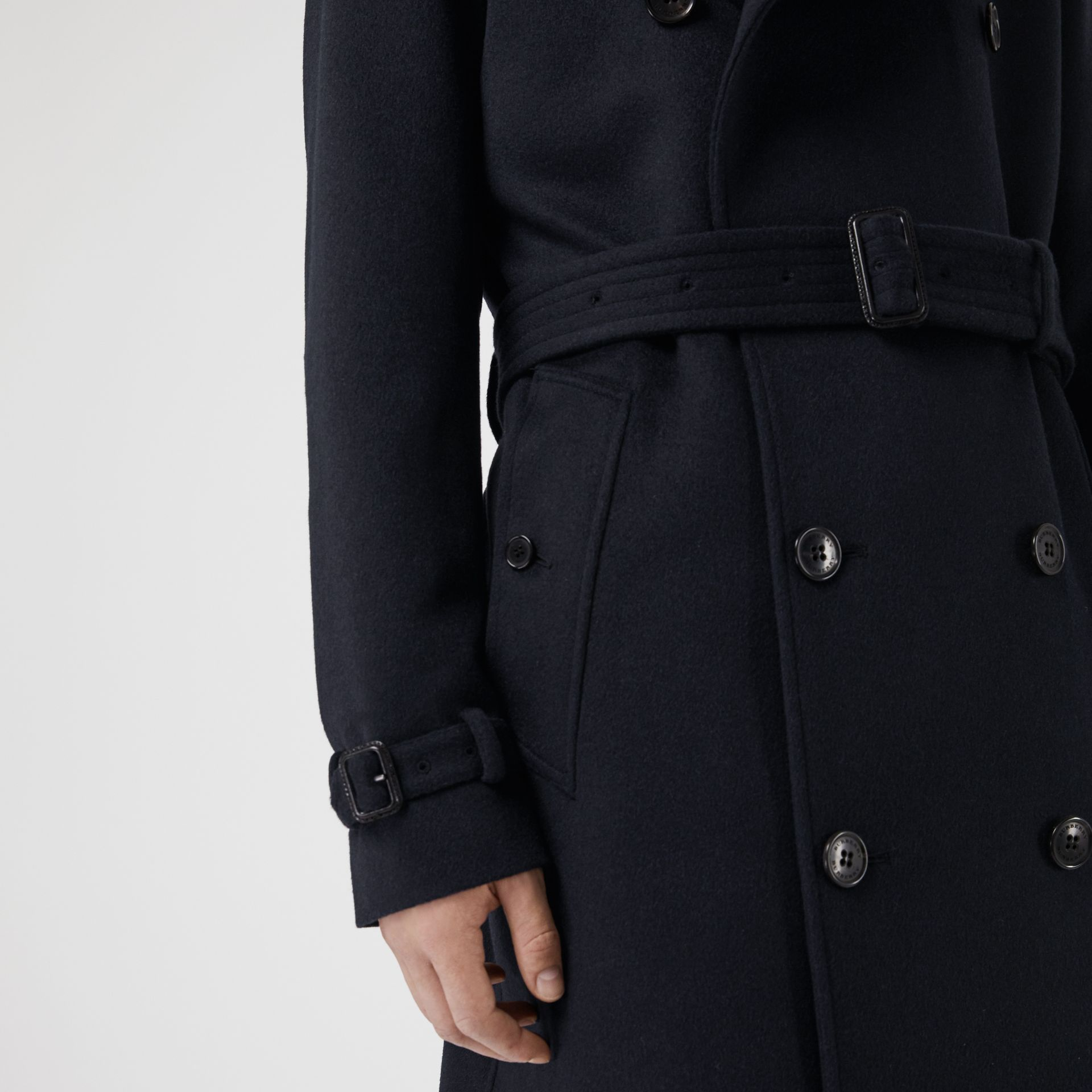 Cashmere Trench Coat in Navy - Men | Burberry Hong Kong - gallery image 5