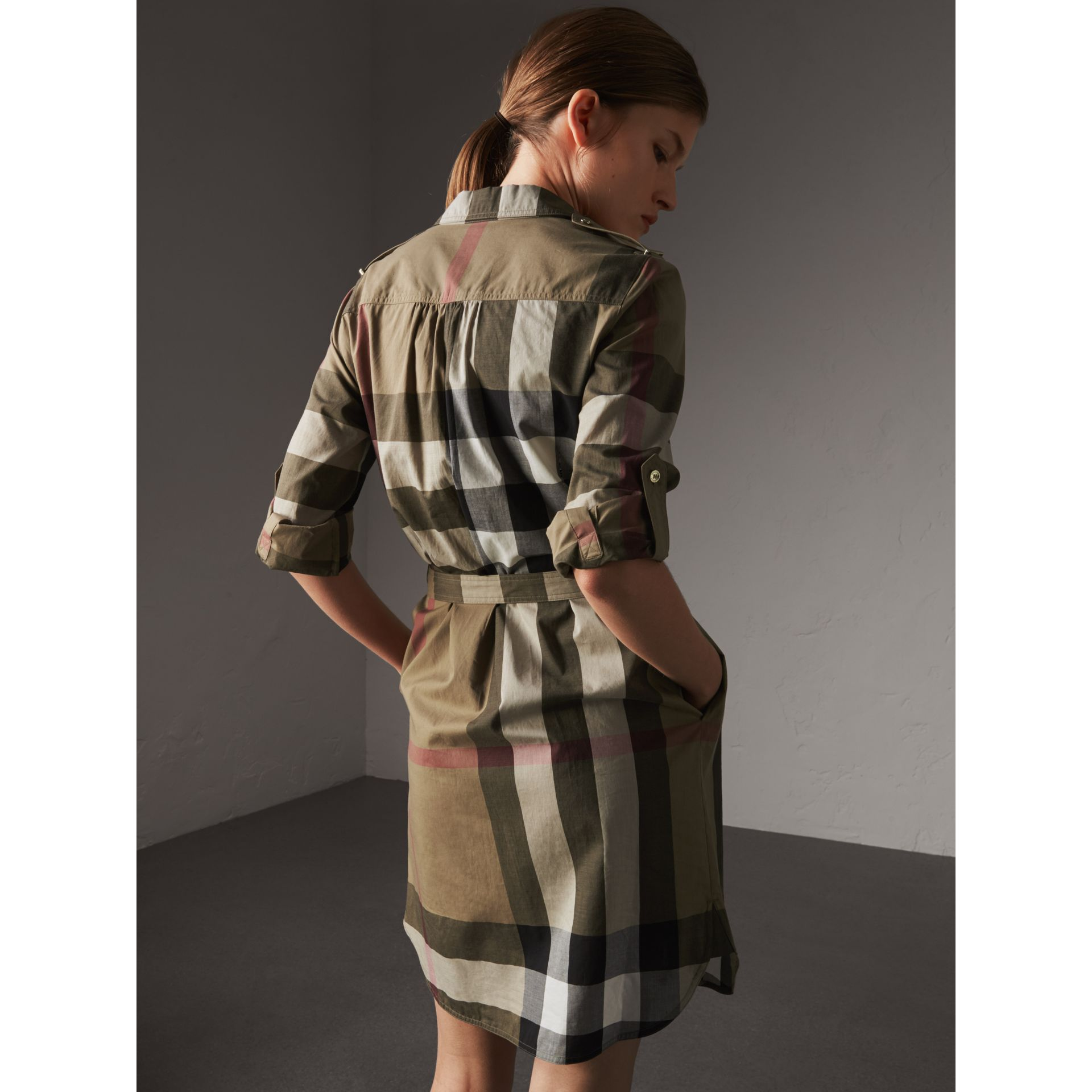 Check Cotton Shirt Dress in Taupe Brown - Women | Burberry Singapore - gallery image 3