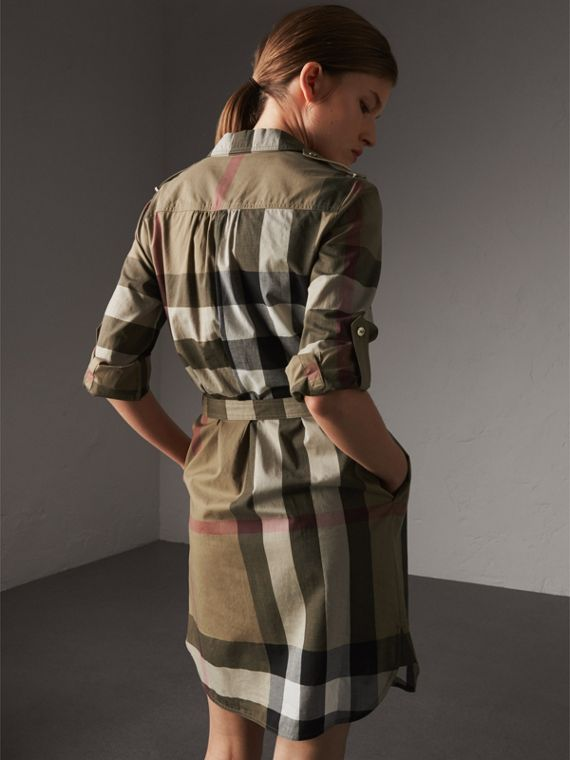 Check Cotton Shirt Dress in Taupe Brown - Women | Burberry Singapore - cell image 2
