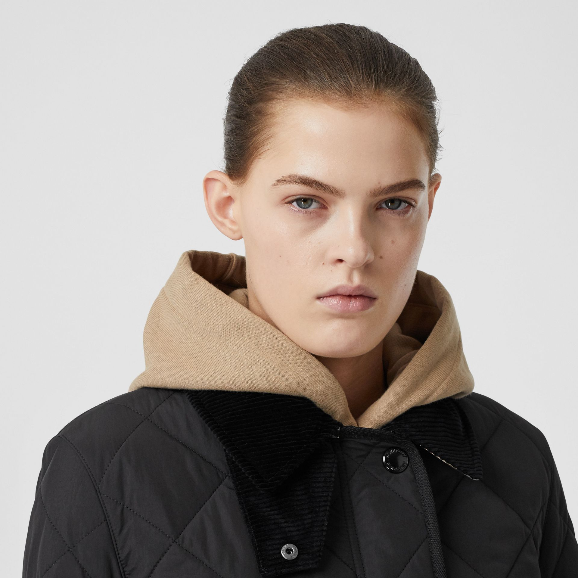 Diamond Quilted Thermoregulated Barn Jacket in Black - Women | Burberry - gallery image 7