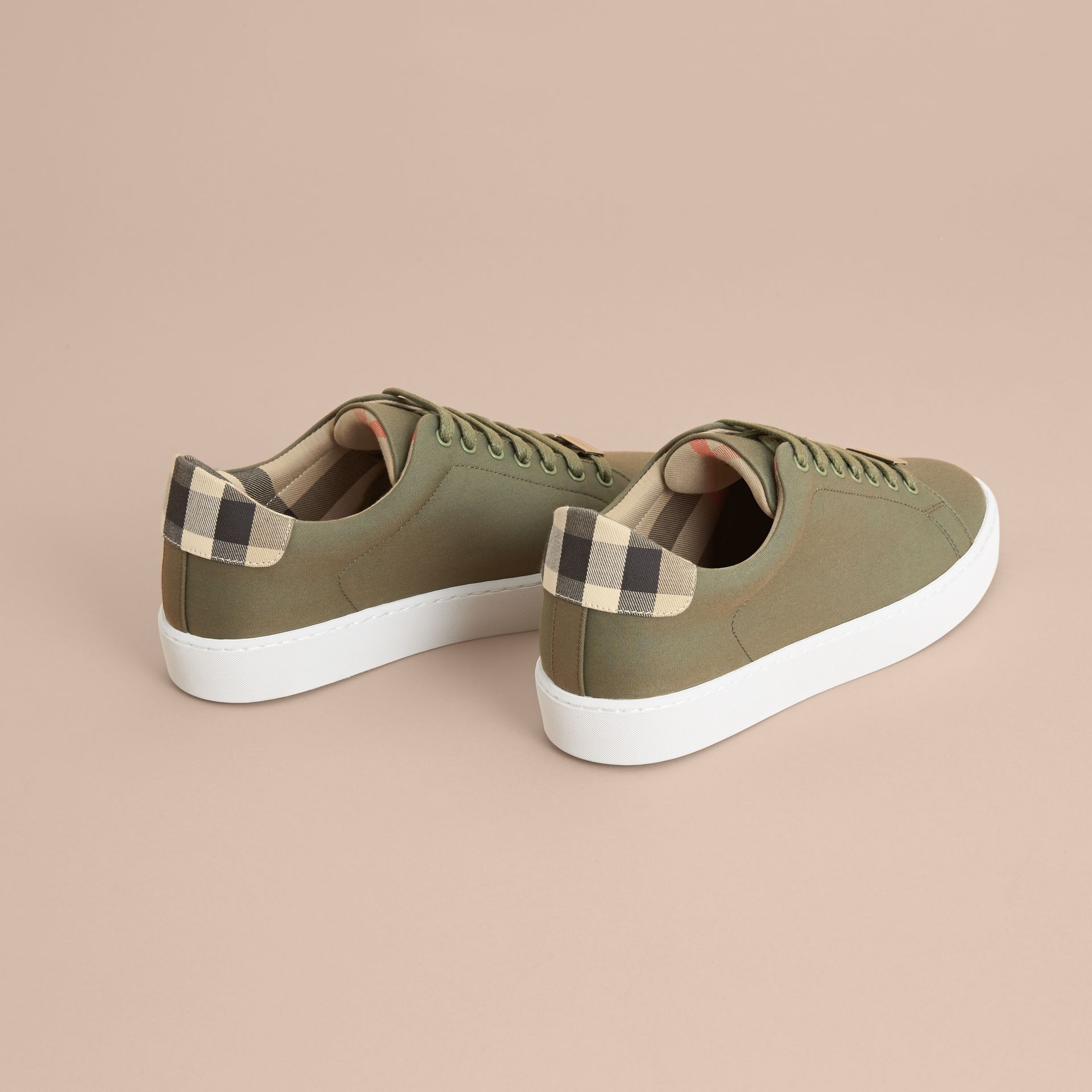 Check Detail Cotton Trainers in Oregano - Women | Burberry - gallery image 4