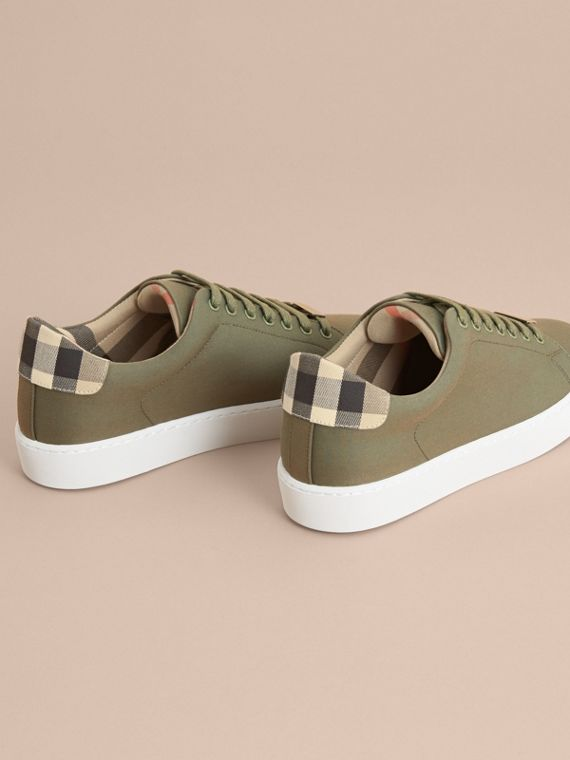 Check Detail Cotton Trainers in Oregano - Women | Burberry - cell image 3