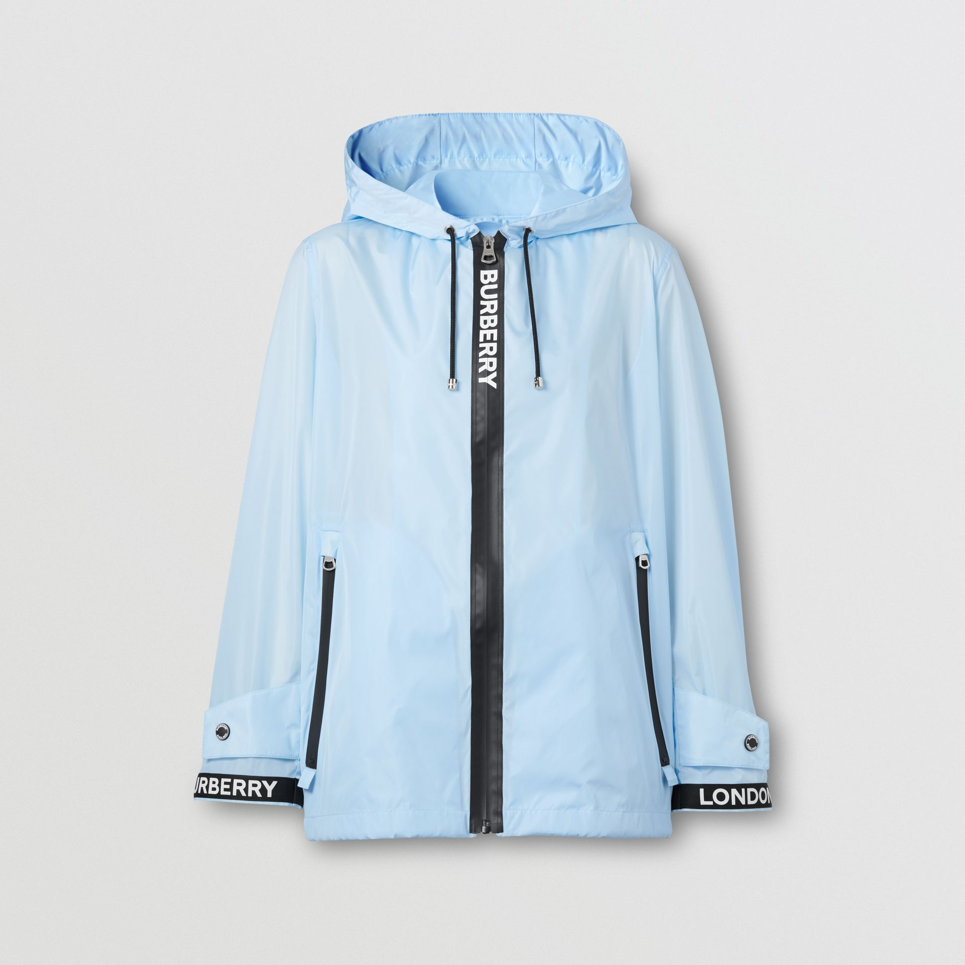 Logo Tape ECONYL® Hooded Jacket in Pale Blue - Women | Burberry Hong Kong S.A.R - gallery image 3