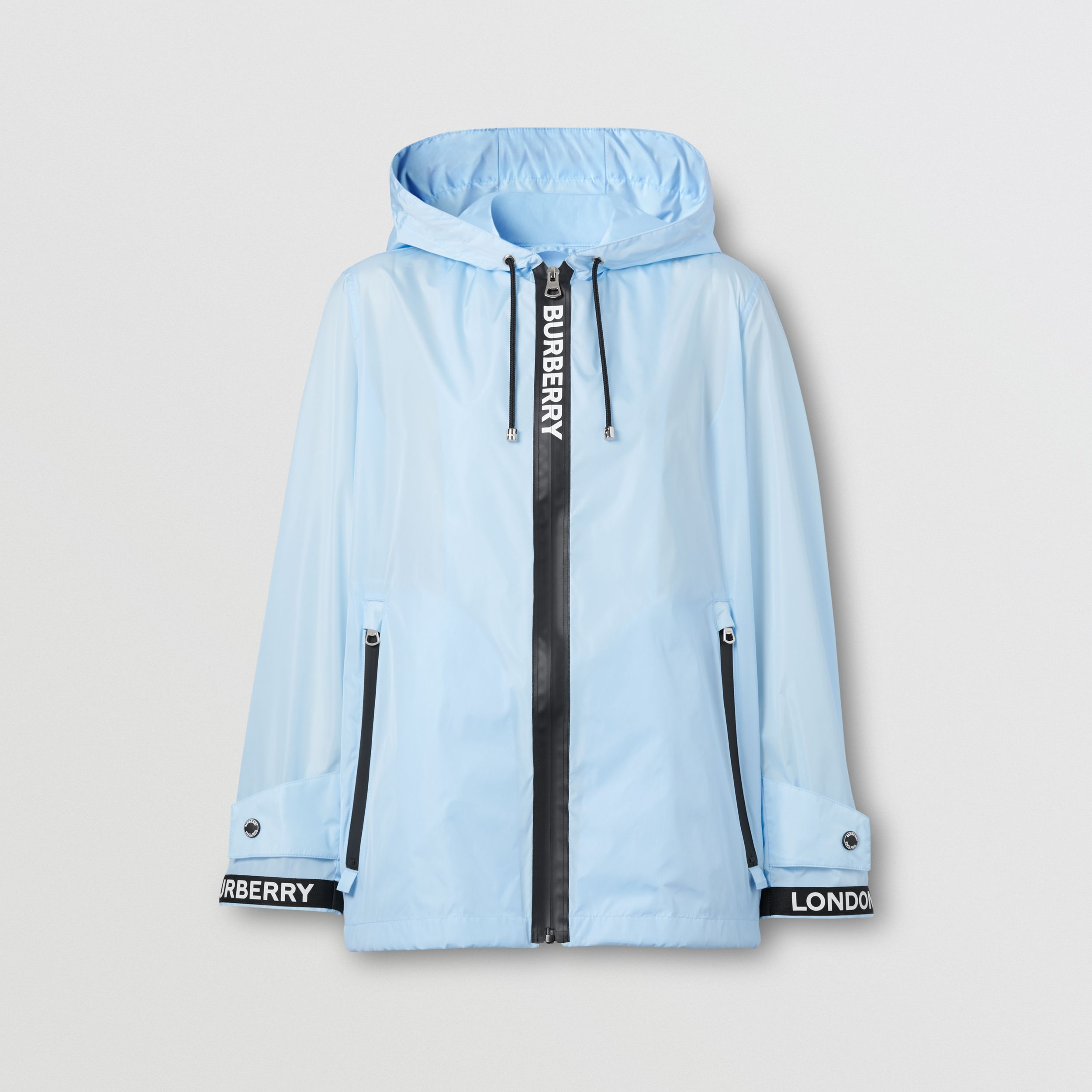 Logo Tape ECONYL® Hooded Jacket in Pale Blue - Women | Burberry - 4