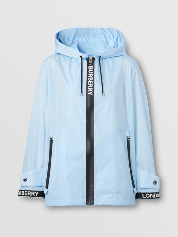 Logo Tape ECONYL® Hooded Jacket in Pale Blue - Women | Burberry Hong Kong S.A.R - cell image 3