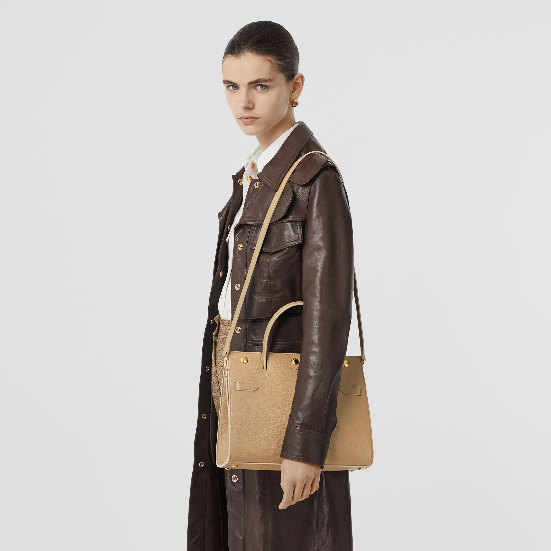 Small Leather Title Bag in Honey - Women | Burberry Australia - gallery image 2