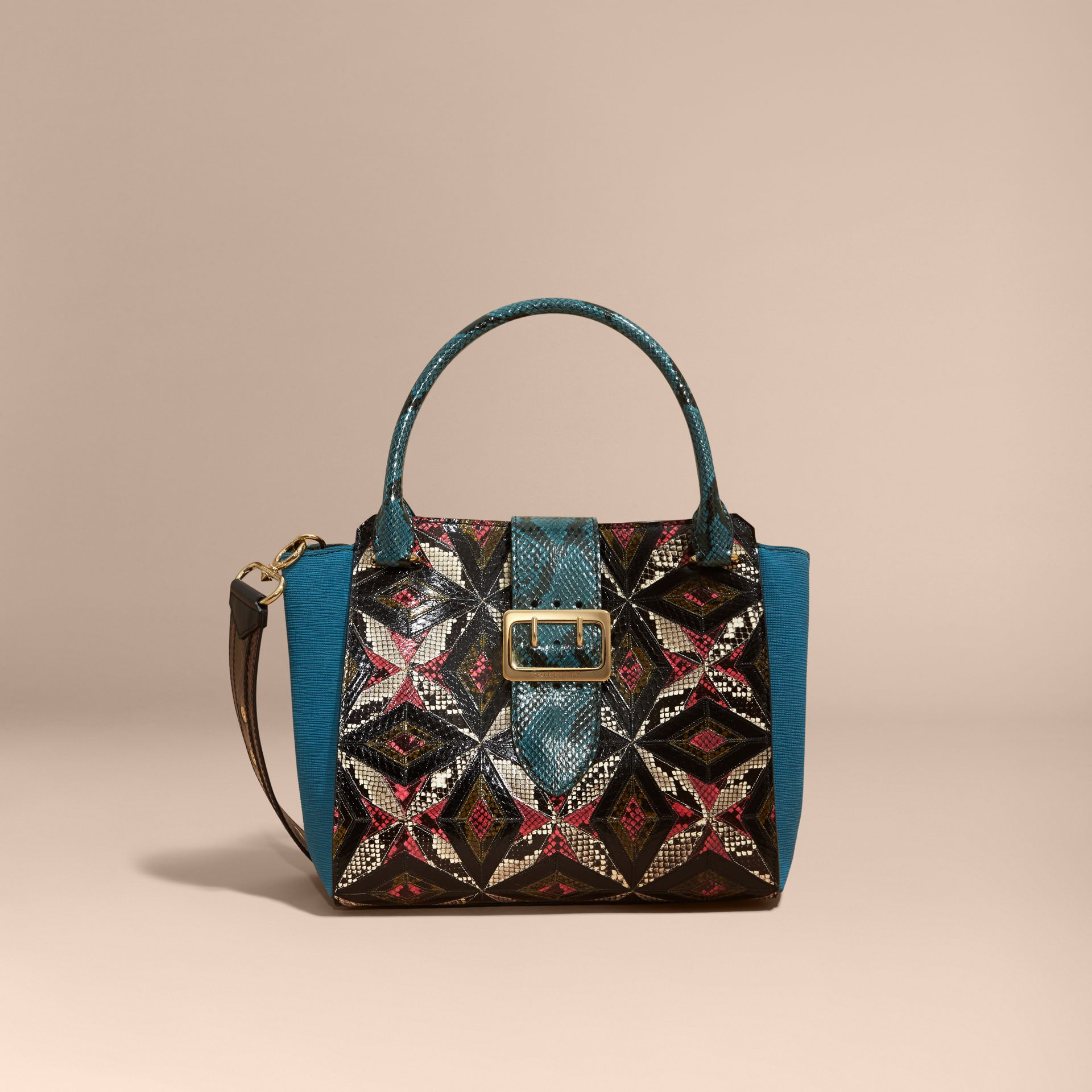 The Medium Buckle Tote in Tiled Snakeskin in Light Crimson - gallery image 9