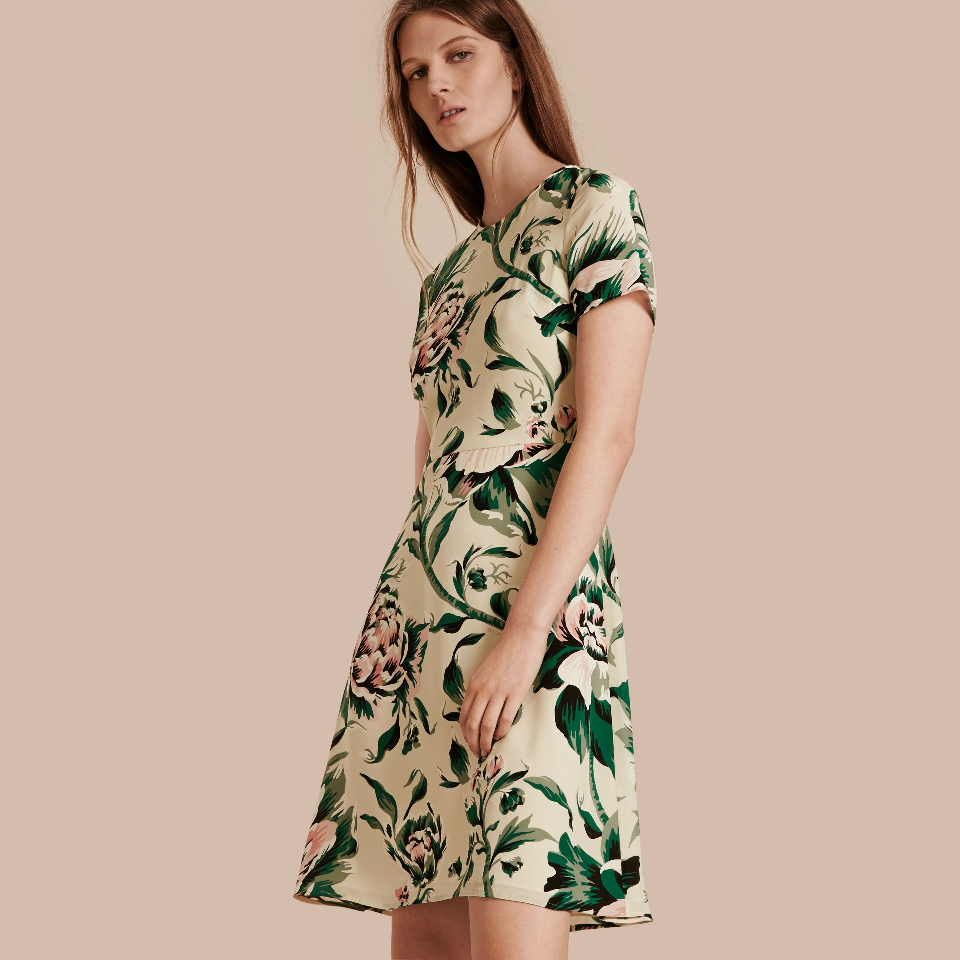 Emerald green Peony Rose Print Silk A-line Dress - gallery image 1