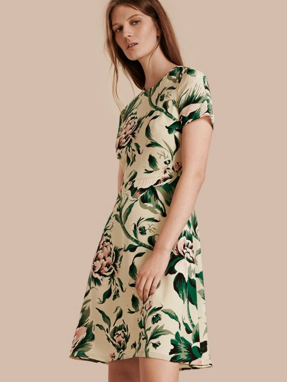 Peony Rose Print Silk A-line Dress
