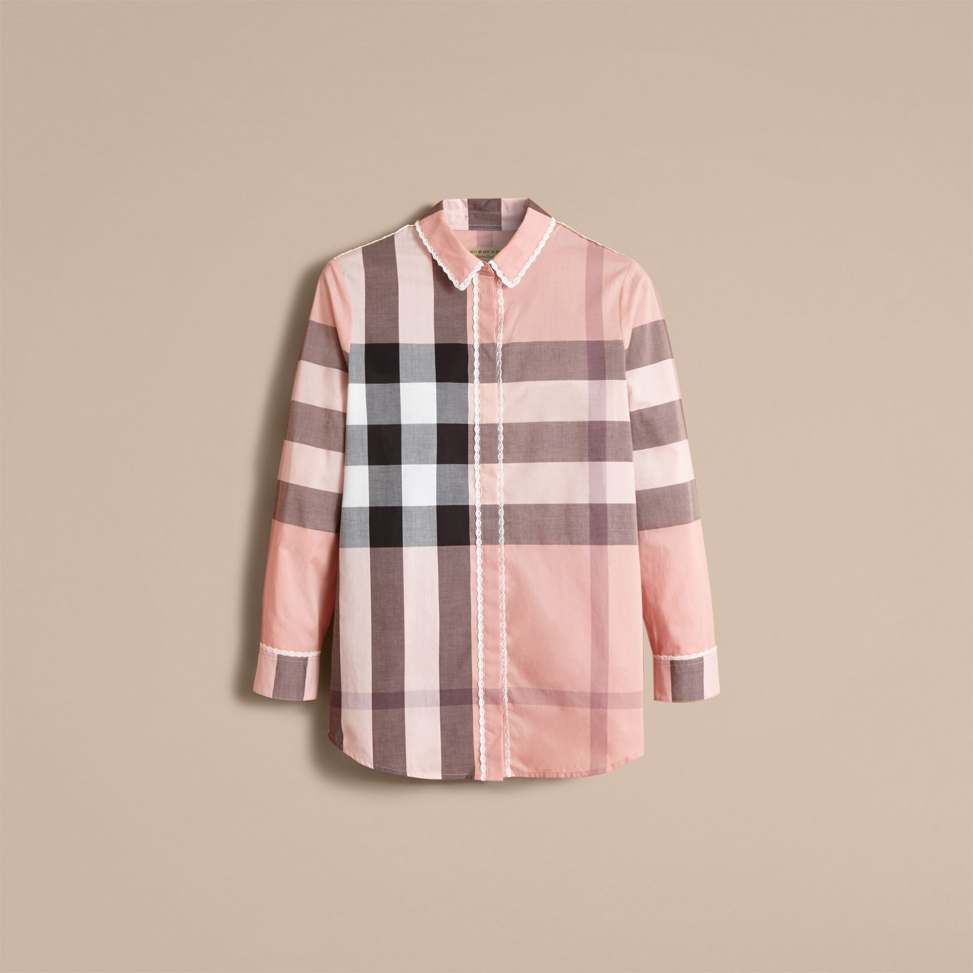Lace Trim Check Cotton Shirt in Antique Pink - Women | Burberry - gallery image 4