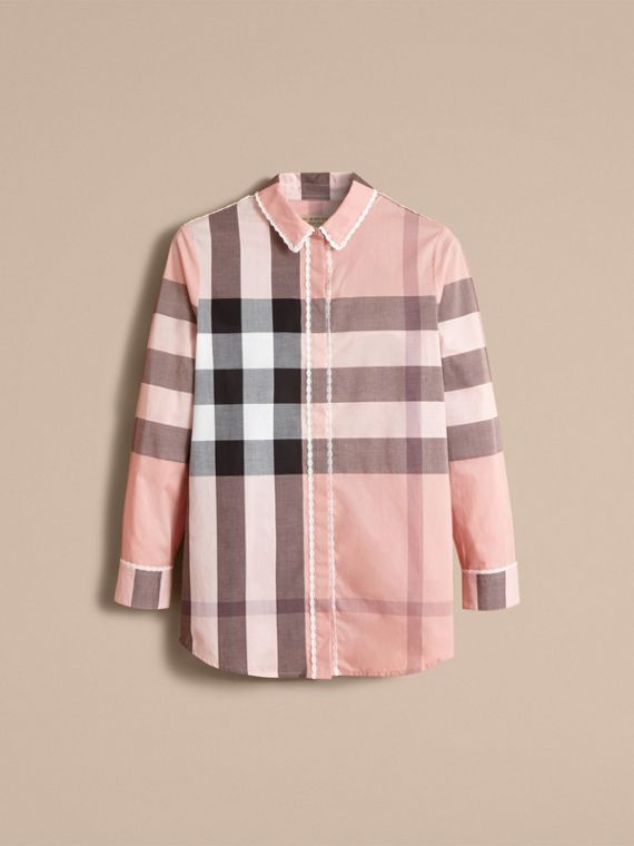 Lace Trim Check Cotton Shirt in Antique Pink - Women | Burberry - cell image 3