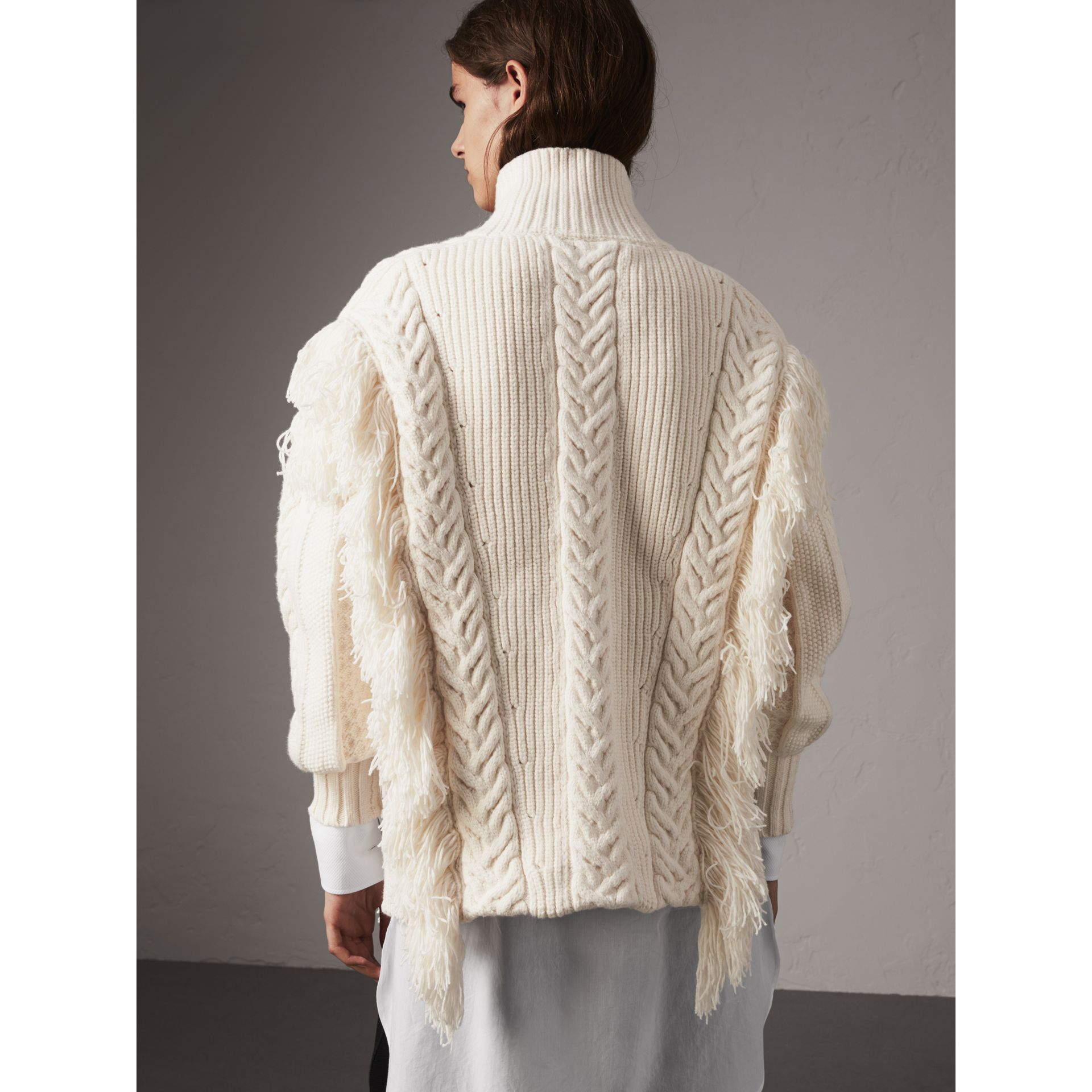 Fringed Cable Knit Cotton Blend Oversized Sweater in Natural White ...