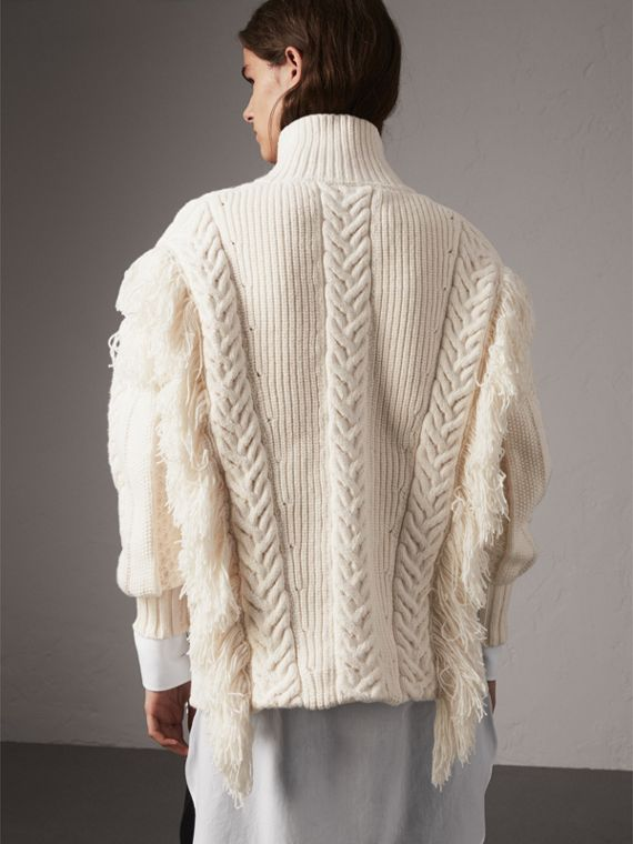 Fringed Cable Knit Cotton Blend Oversized Sweater in Natural White - Women | Burberry - cell image 2