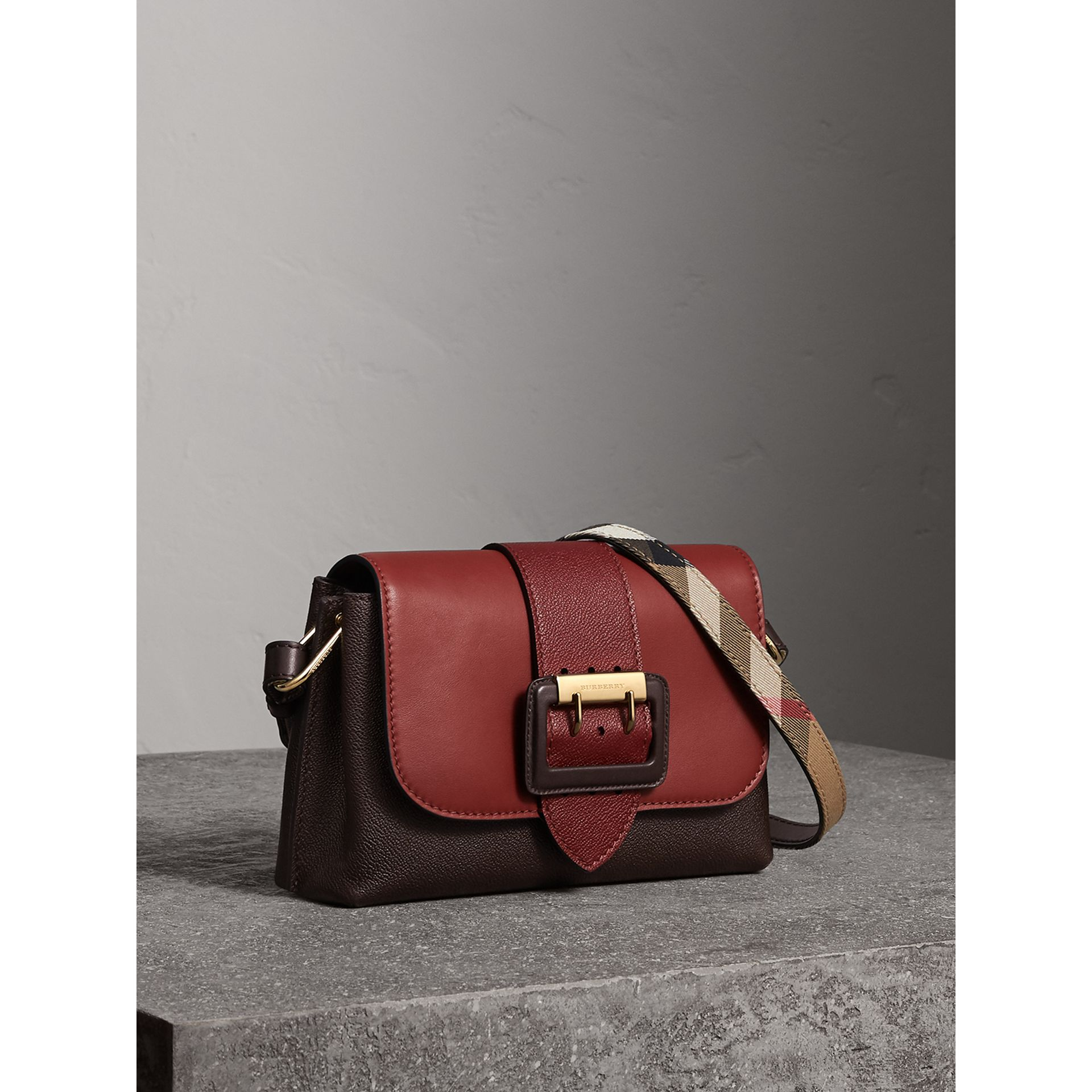 The Buckle Crossbody Bag in Colour-block Leather in Burgundy - Women | Burberry United States - gallery image 7