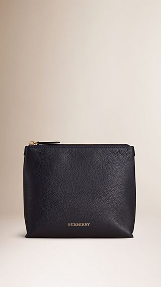 Grainy Leather Zipped Pouch